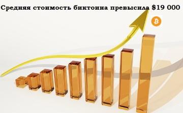 Средняя стоимость биткоина превысила 19 000